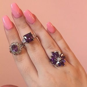 Jewelry - Set of 3 Amethyst Rings